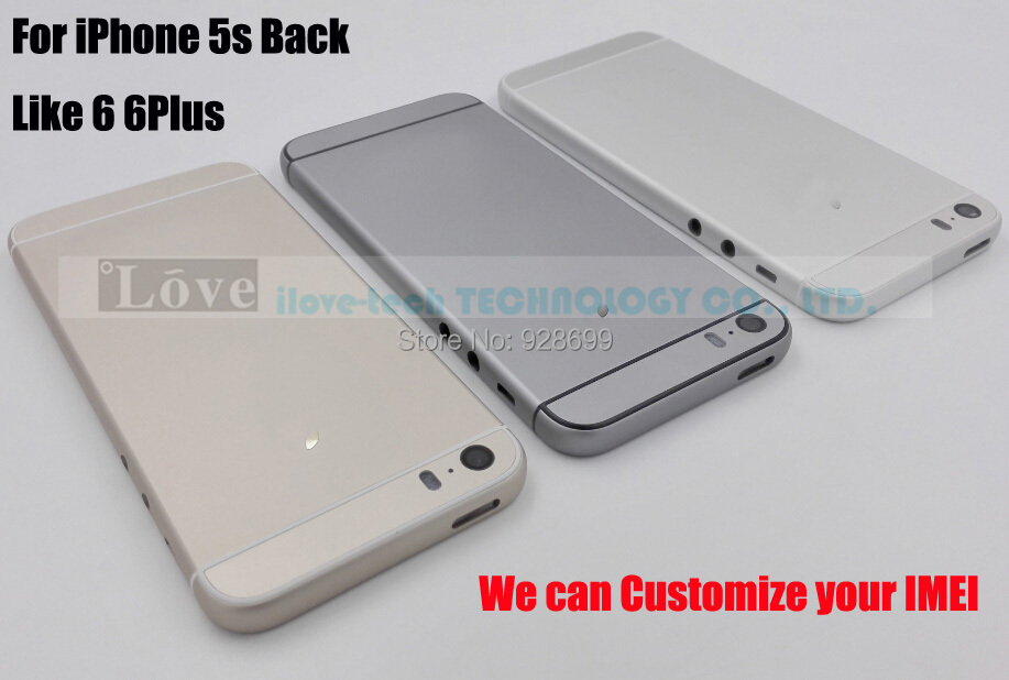 Customize Your IMEI !! For IPhone 5s Replacement Back Chassis Housing Backcover in 6G 6Plus Style,3colors,Best Quality in China(China (Mainland))