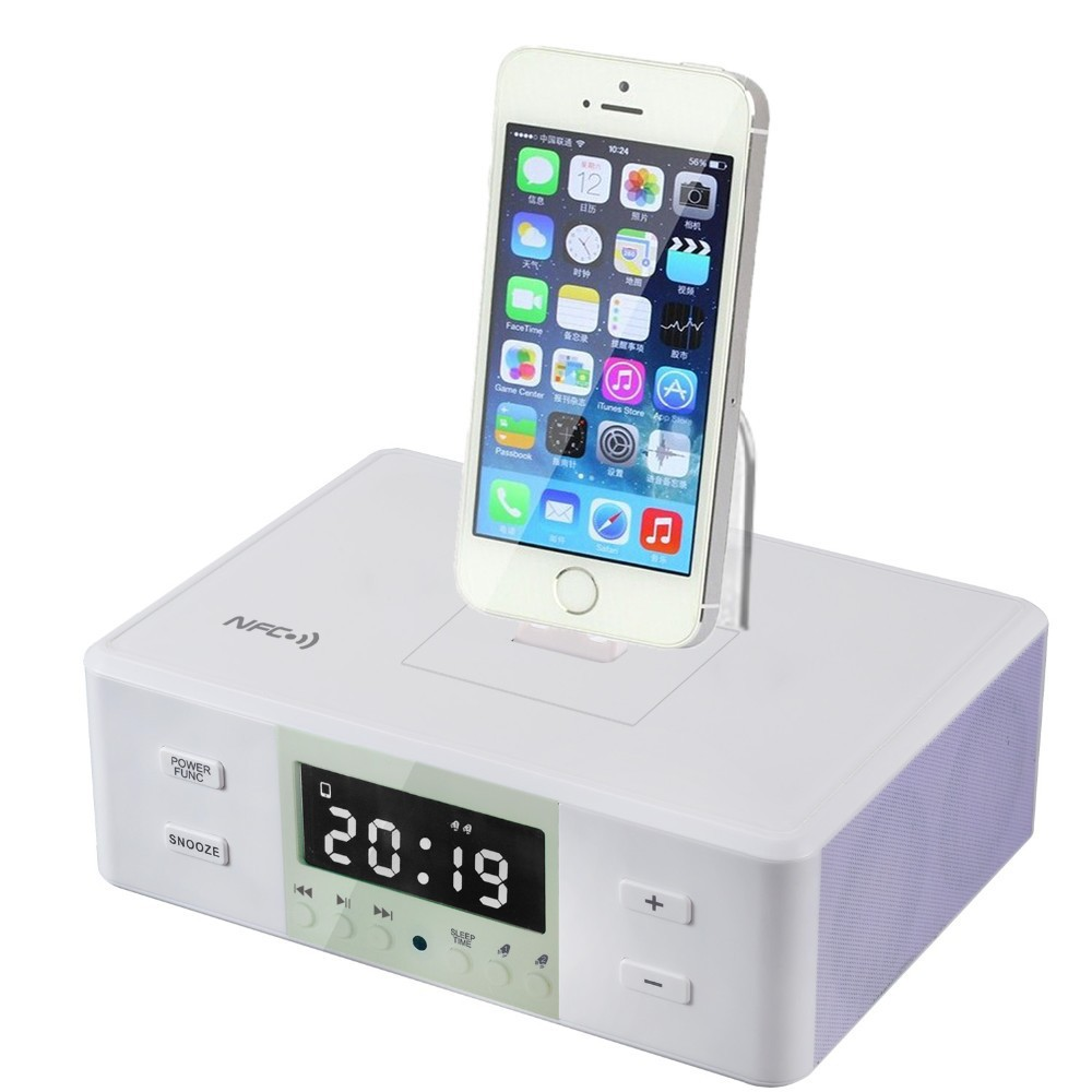 2015 New All In One Gadgets Portable Alarm Clock FM Radio Charging Docking Station Speaker for iPod iPhone Mp3 Player(China (Mainland))