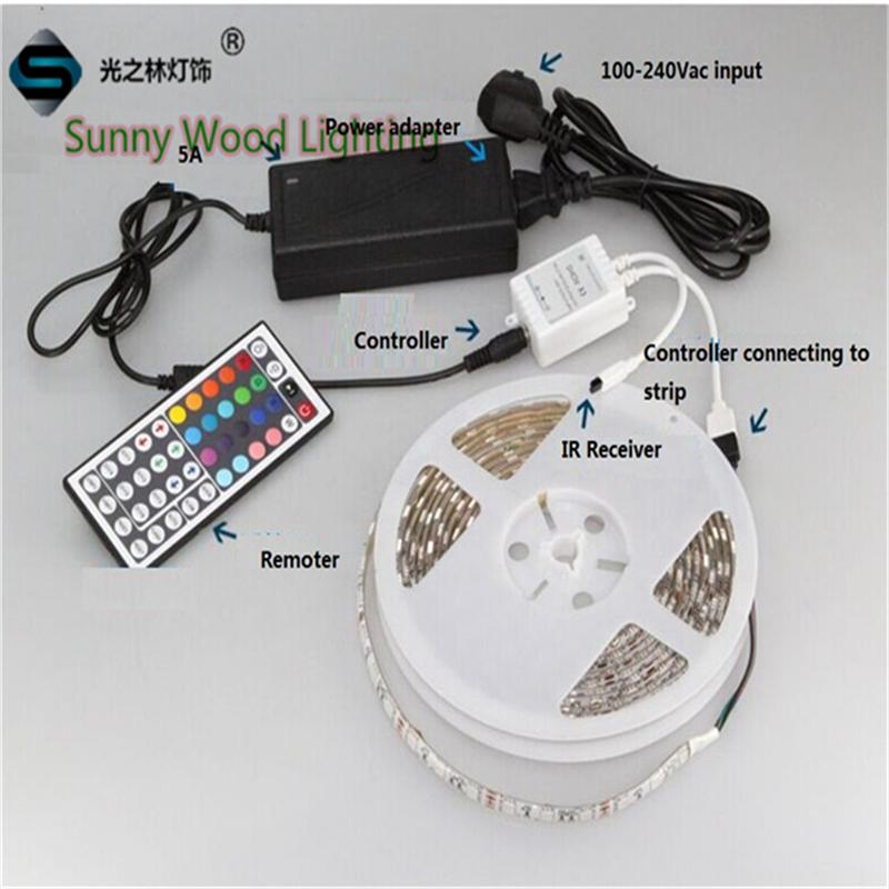 5m/roll Free shipping 60pcs/m SMD 5050 LED Ribbon Kit,RGB tape kit with controller,power supply LED strips 12V DC RGB IP65(China (Mainland))
