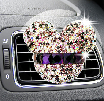 Luxury car ornaments girl Exquisite diamond Mickey Air conditioning outlet perfume Car air refreshing agent