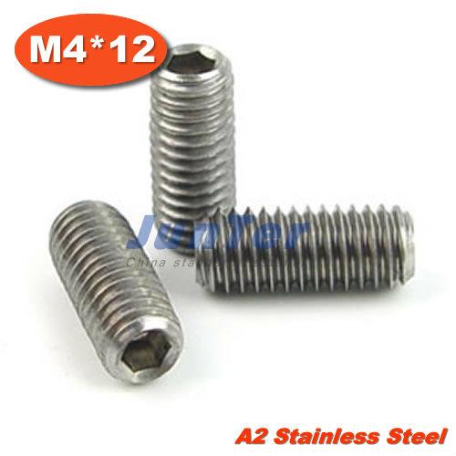 100pcs/lot DIN913 M4*12mm Flat Point Grub Screws Stainless Steel<br><br>Aliexpress