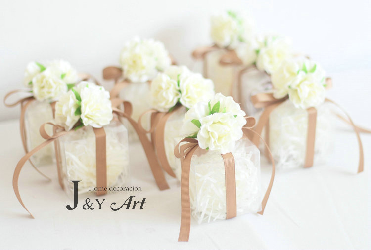 10pcslot Silk Flower Plastic Candy Boxes Weddirect Discount