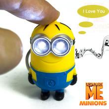 Película de Dibujos Animados lindo Luz Led 3D Despicable Me Minion 2 Mini llaveros Doll PVC Figura de Acción Juguetes Con Sonido de los Regalos de Los Niños(China (Mainland))