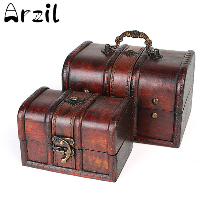 Vintage Jewelry Storage Box Wooden Organizer Case Metal Lock Wood Boxes Antique Retro Candy Container Cases(China (Mainland))