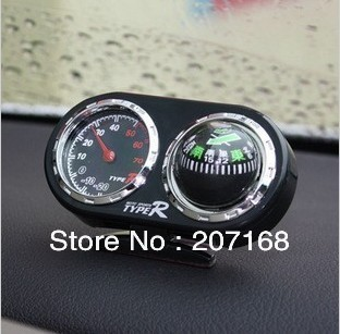 New 2 in1 Stand Car Compass Ball With Thermometer  Free Shipping