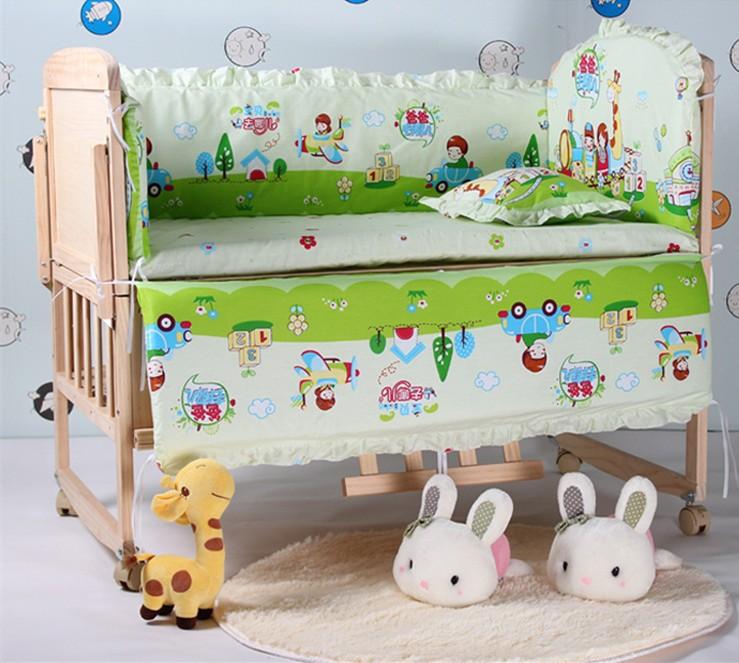 5PCS 100*60/110*65cm Baby Boy Crib Cot Bedding Set Nursery Bed Kit Crib Bumper Sheet (bumpers+matress+pillow)(China (Mainland))