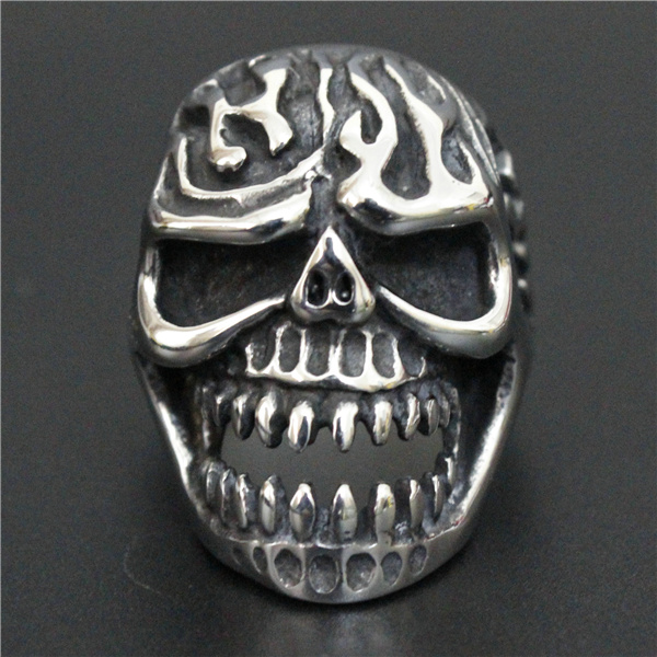 Drop Ship Size 8-13 Fire Flam Skull Ring 316L Stainless Steel Cool Popular Ghost Skull Biker Ring(China (Mainland))