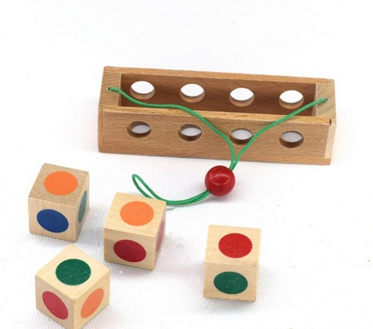 Brain Teaser Toy China Kongming Lock Color Board Magic Wood Jigsaw Puzzle 12.3cm*3.5cm*2.5cm(China (Mainland))