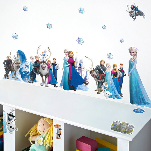 % 3D Animation princess queen Aisha Frozen home decor wall stickers/ PVC wall stickers snow girl living room Kids Room decor(China (Mainland))