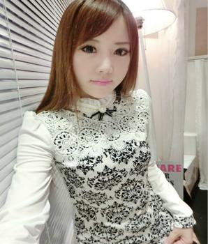 autumn shirt women Korean plus size fashion blusas tops 2015 casual beading flower print cotton lace elegant blouse