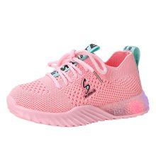 2019 الخريف جديد المألوف تنفس الأطفال طفل الطفل الفتيات الفتيان إلكتروني Led مضيئة الرياضة رياضة الجري شبكة حذاء كاجوال(China)