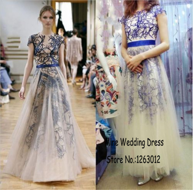 Zuhair murad high neck prom dress blue haute couture cheap for High couture dresses