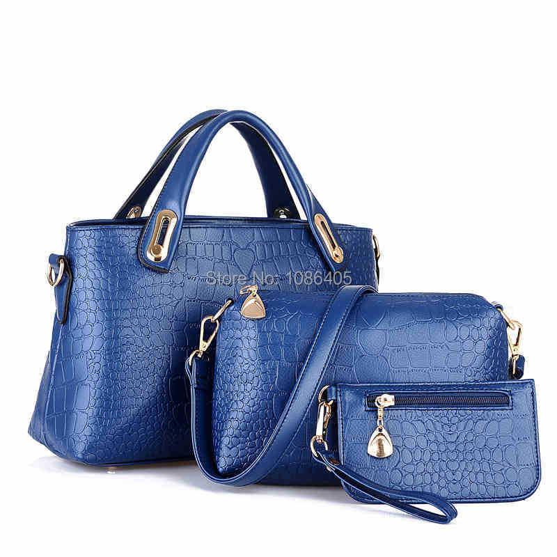 New BUY 1 GET 2 PU Leather Women Messenger bags women handbags casual bag wallet bolsas femininas 3 pieces kit Free Shipping(China (Mainland))