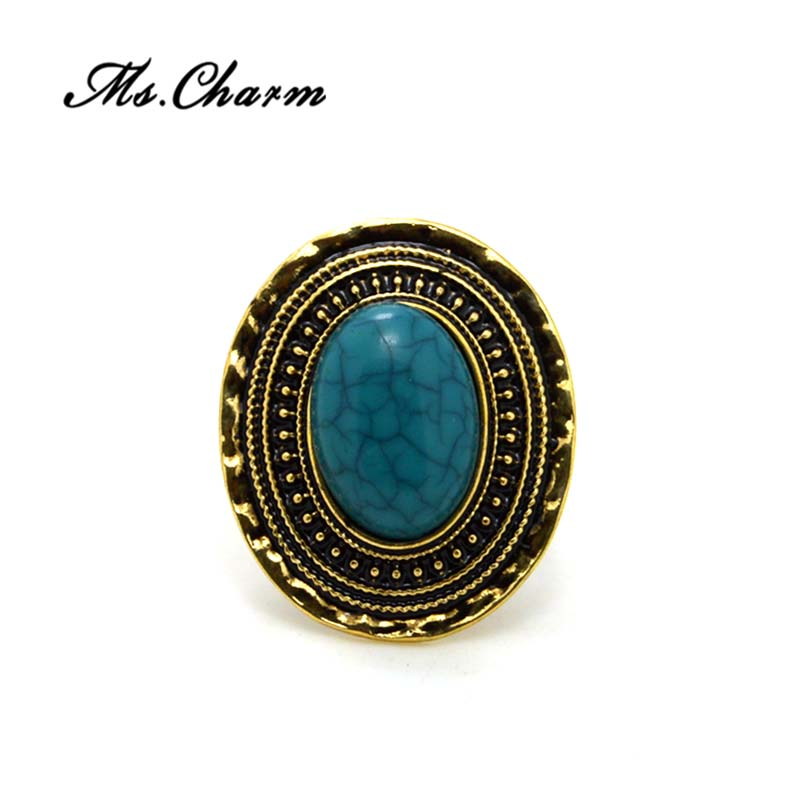Retro Style Vintage Gold Plated Ellipse Rings For Women Anillos Mujer Bohemian Turquoise Ring Adjustable Anelli Donna Ms.Charm(China (Mainland))
