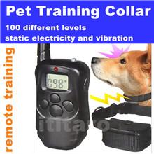 Батарейках кинологический воротник, Пульт дистанционного управления Pet обучения ошейник 100 уровень вибрации и статический шок