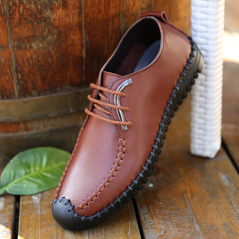 2016 new spring and summer men's shoes casual shoes breathable leather shoes soft bottom shoes men's shoes driving Doug
