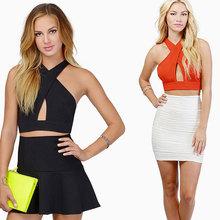 Summer Sexy Women Short Crop Tops Off shoulder Cross Straps Tops With Back Zipper Fashion Women Clothes