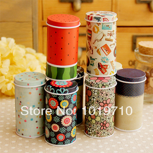 Mini tea tin box candy boxes toothpick U disk cartridge seal Tall round tin box storage box 8pcs(China (Mainland))
