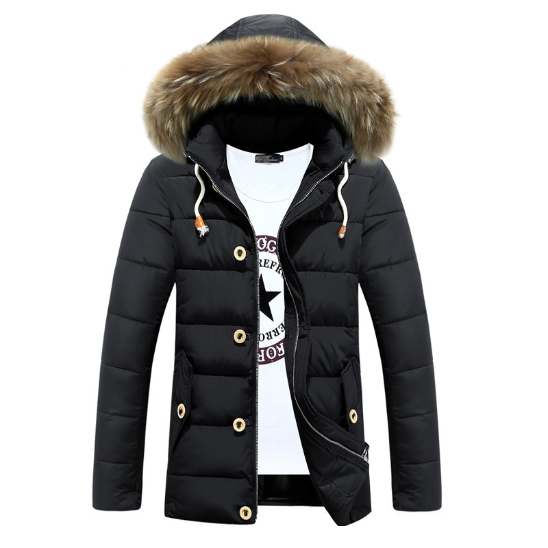 2016 New Casual Mens Winter Parka Fur Hood Thick Detachable Cap Chaqueta Hombre Invierno Good Quality Long Coat - Another Half store
