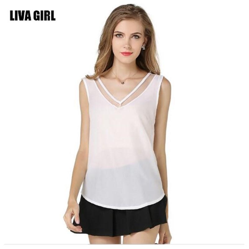 2016 summer new sleeveless chiffon unlined upper garment Pure color v-neck net yarn splicing vest size S - XXL 5800(China (Mainland))