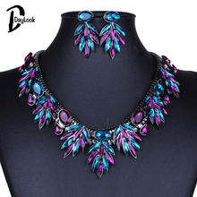DayLook 2016 Necklace&Earrings Set Multicolor Crystal Detail Chunky Necklace Women And Earrings  Beautiful Collares Kolye(China (Mainland))