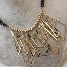 Free shipping! Wholesale Luxury gold plated black hollow irregular geometric statement necklace Imitation diomands collar(China (Mainland))