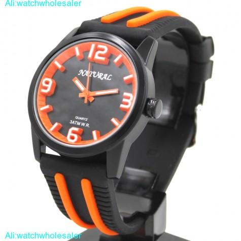 Unisex Wrist Watches Black Dial Water Resist Silicone Black Band Boy Girl Orange Fashion Watch FW848T(China (Mainland))