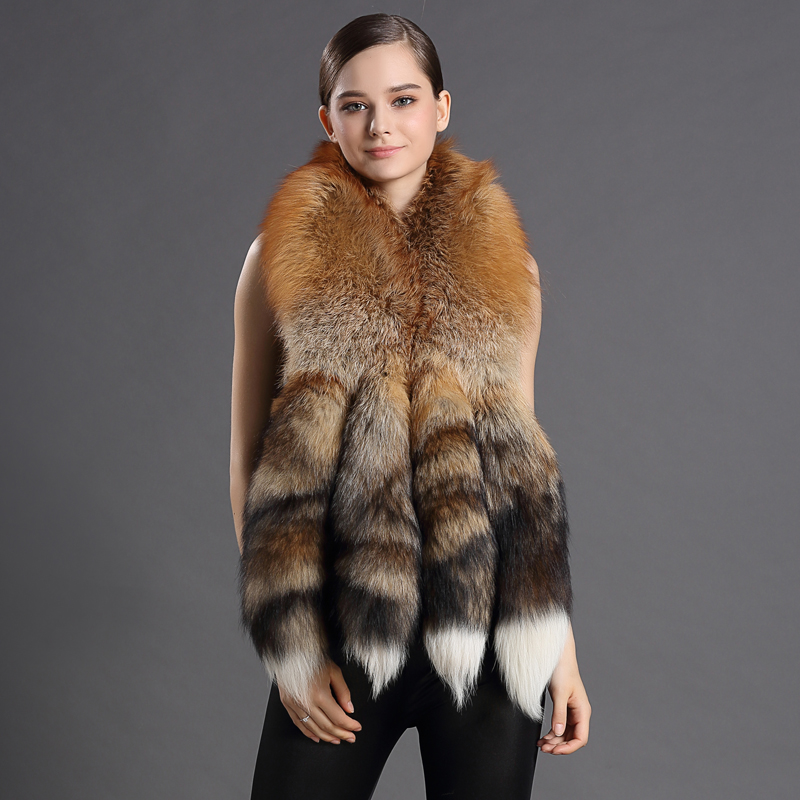100% Real Fur Scarves With Big Fox Tail Women Fur Natural Color Shawl Elegant Trendy Luxury Design New 2016 Women's Scarf(China (Mainland))