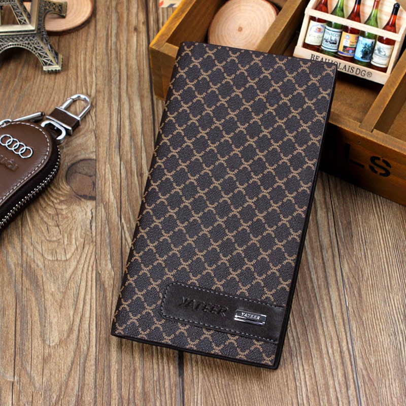 Multiple Card Holder 2015 New Arrival Business Style Men Long Wallets PU Leather Lightweight Classic Mens Wallet LY089()