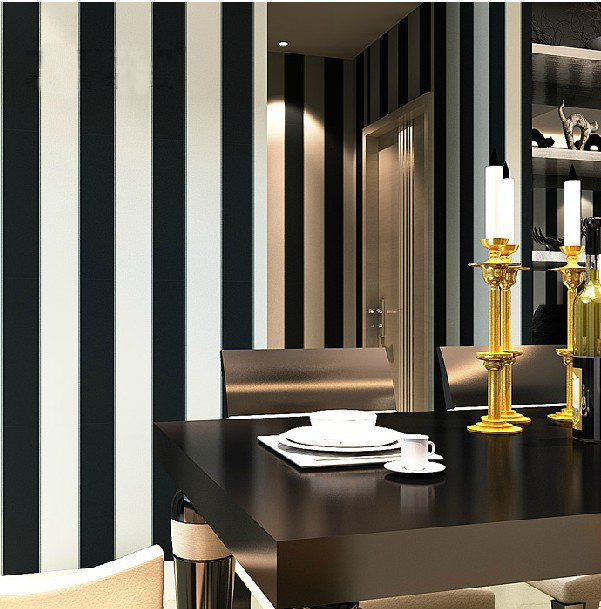 Buy zebra modern brief vertical black and for Striped wallpaper living room