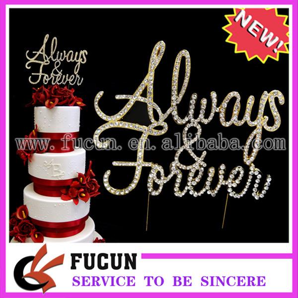 15pcs/lot Rhinestone Always&Forever GOLD Wedding Cake Topper Crystal Monogram Free Ship(China (Mainland))