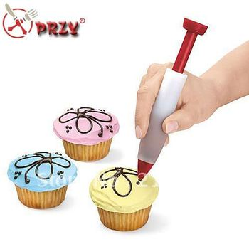 Free shipping Cake Biscuit Cookie Pastry Icing Decoration Syringe Chocolate Plate Pen Tool New NO:FO037