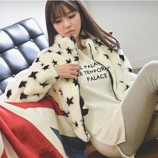 Fashion warm imitation rabbit fur coat stars korea maiden(China (Mainland))