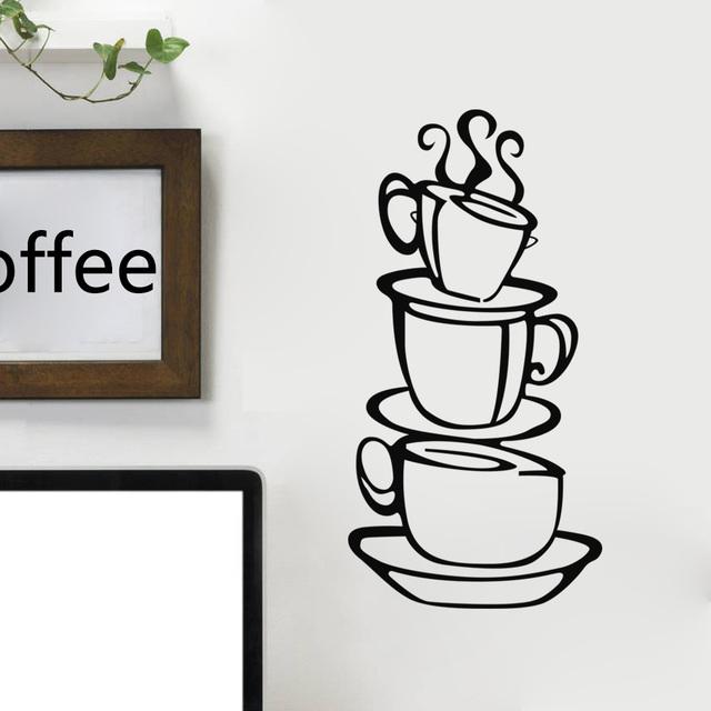 Чашка кофе кухня ресторан украшения домашнего декора творческая настенные наклейки декоративные наклейки стены ZYVA-8104