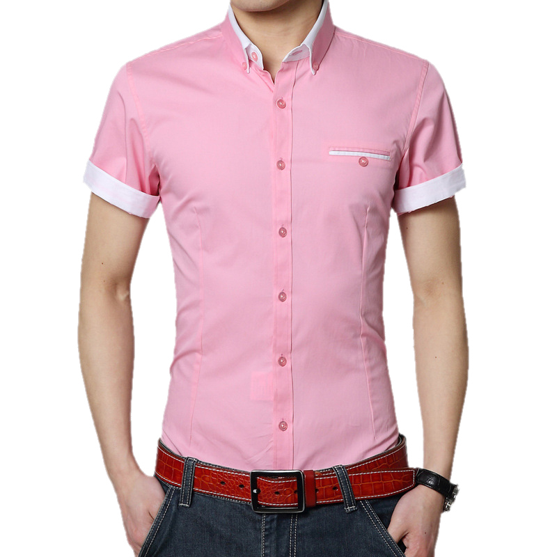 2015 men summer casual shirt stylish brand cotton button for Mens casual shirts brands