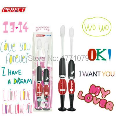 2015 fashion small brush head soft brush lovers Toothbrush love heart guard superfine creative toothbrush 2pcs/bag free shipping(China (Mainland))