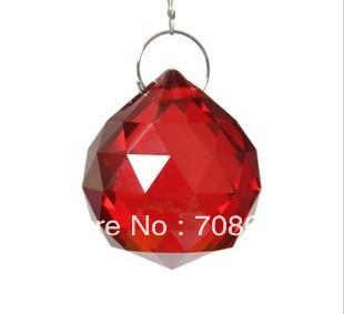 20pcs 30MM  CHANDELIER LAMP RED CRYSTAL BALL PRISM X'MAS WEDDING PENDANT SUNCATCHER