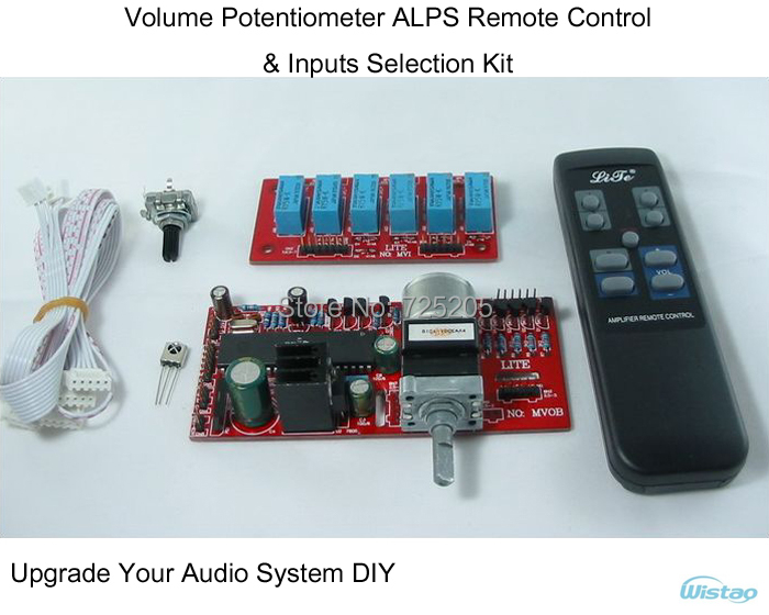 Amplifier Volume Potentiometer ALPS Remote Control & Inputs Selection Kit for HIFI Audio DIY Upgrade Your System Free Shipping(China (Mainland))