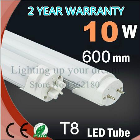 25pcs / LOT Super Brightness T8 Led Tube 600mm 10W SMD 2835 Led Bulbs Tubes Light Fluorescent Tubetes AC85-265V Warm Cold White(China (Mainland))