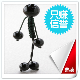 Natural obsidian apotropaic mobile phone pendant lilliputian personalized fashion