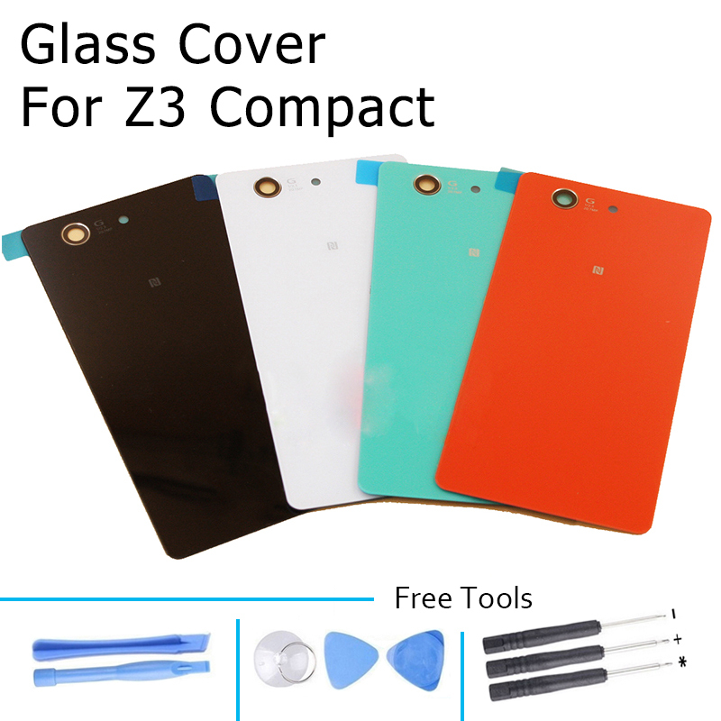 Rear Door Battery Back Glass Cover for Sony Xperia Z3 Compact D5803 Mini With Adhesive Free Tools Black White Red Blue(China (Mainland))