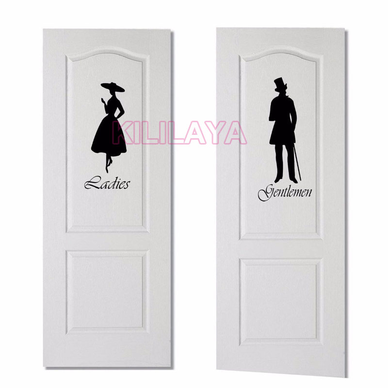 Gentlemen Ladies Toilet Wc Bathroom Door Sign Vinyl Wall Decorative  Bathroom Door Signs