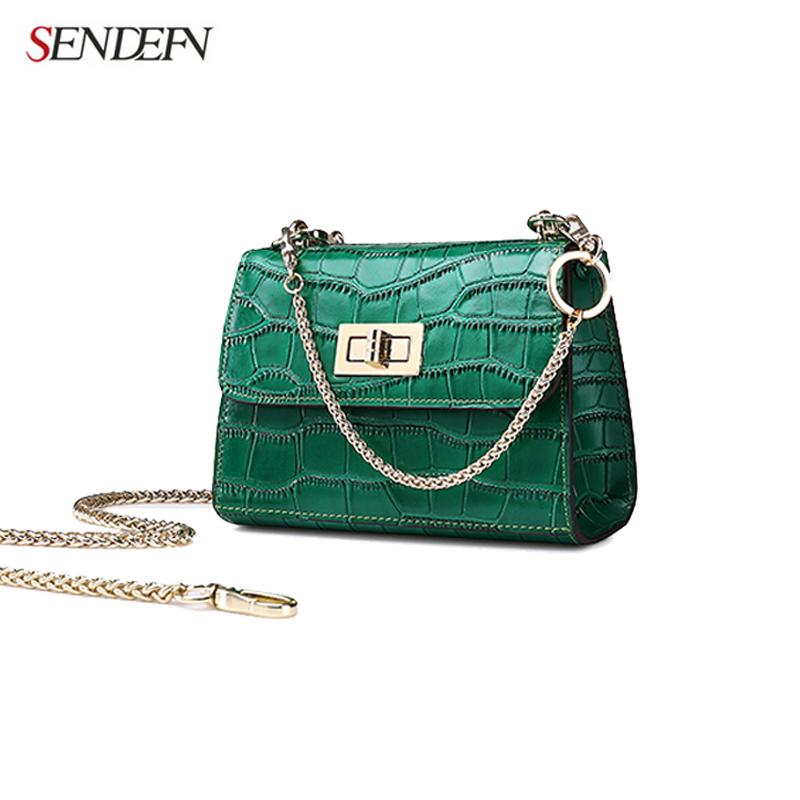 Sendefn 2017 Fashion Leather Crocodile Women Messenger Bag Ladies Crossbody Shoulder Bags Cute Lady Small Handbag(China (Mainland))