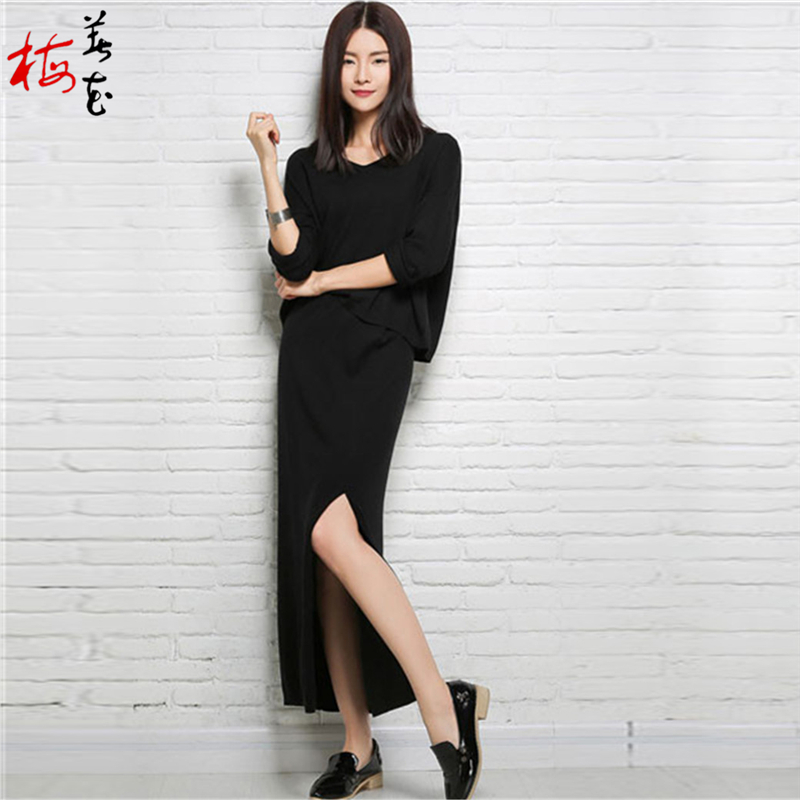 Women Batwing Sleeve Cashmere Black/Camel Sweater+Long Skirt/Set Autumn Lady V-Neck Knitwear Pullover 2015 Spring Knitted Jumper