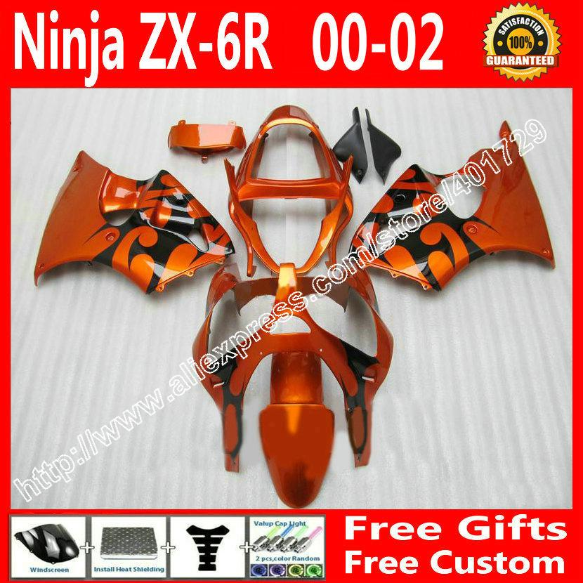 ABS plastic Fairings for 2000 2001 2002 Kawasaki ZX6R 636 parts 00 01 02 orange black kit EH43(China (Mainland))