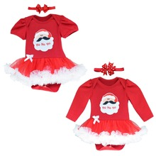 New 12.25 Chirstmas Santa Claus Pattern Cute Infant Baby Girls Climb Romper Dress Clothes  Costume with Headband For 0~12Mouth