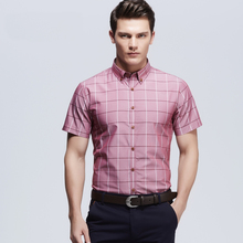 2016 New Spring Summer Men Short Sleeve Plaid Shirts Hot Fashion Casual Business Dress Man Shirts camisa masculina