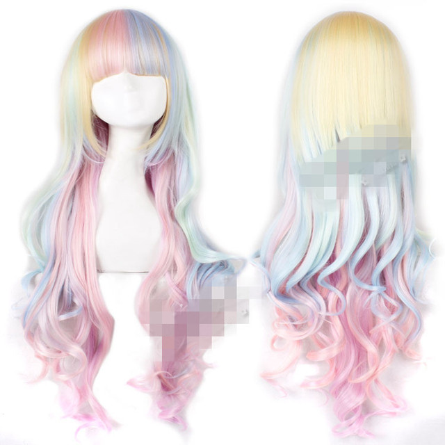 Rainbow Princess Hair Wig Cosplay Lolita Kanekalon Hair Bulk Ribbon Synthetic Hair Extension Icecream Closures Body Weave