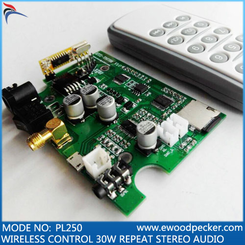 PL250 wireless control audio decode board bird caller PCBA Industry control audio playback board mp3 wav format clear loud sound(China (Mainland))