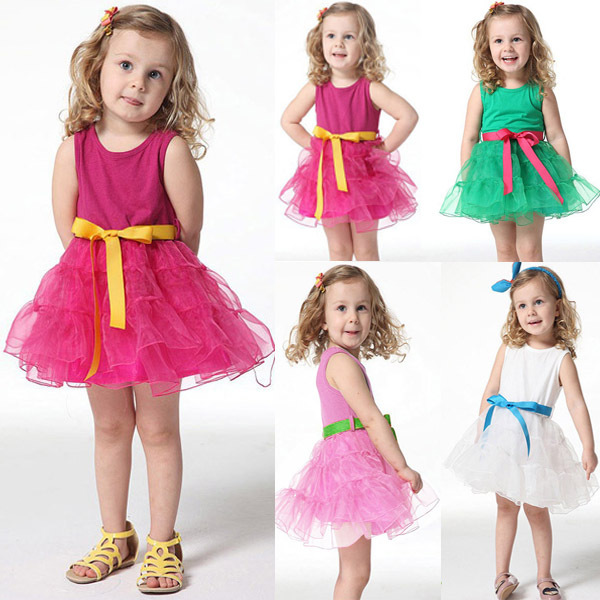 NEW Girls Princess One Piece w/Belt Tutu Dress Cotton Clothing Size 3 months-4 years(China (Mainland))